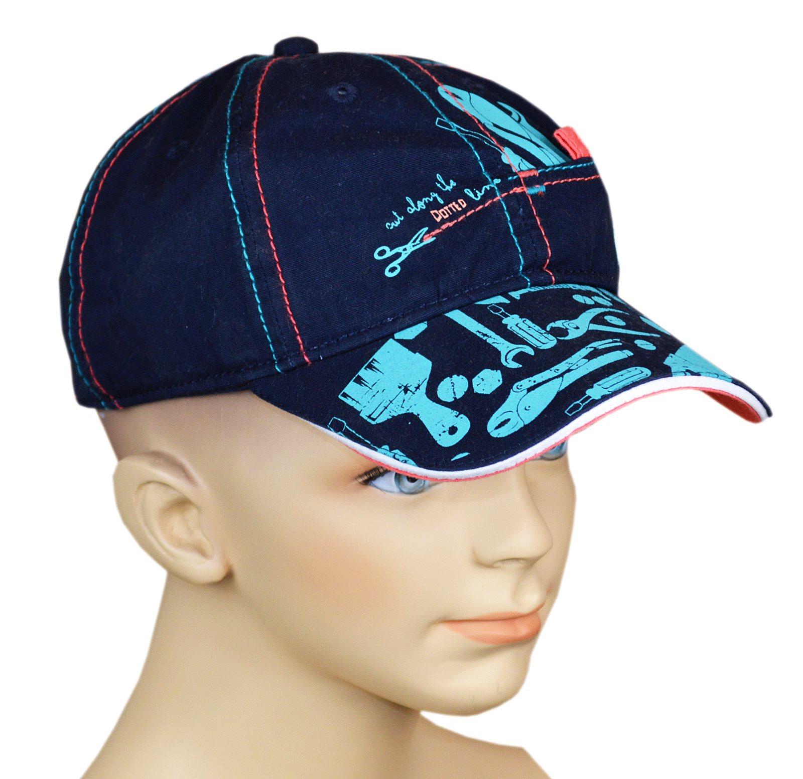 Dunkelblaue Cap-Mütze für JUngen mit tollen Werkzeugmotiven in hellblau und  farbigen Ziernähten. 2ee969686db