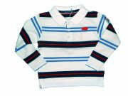 Langarm Polo-Shirt in maritimem Ringelmuster von Week-end a la mer